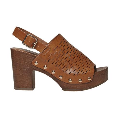 Sandali da donna con perforazioni bata, marrone, 761-3599 - 15