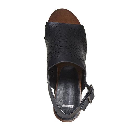 Sandali con tacco stabile bata, nero, 761-6599 - 19