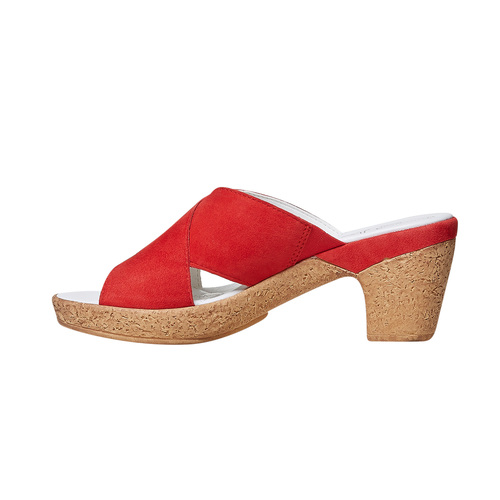 Slip-on in pelle da donna bata-touch-me, rosso, 663-5232 - 26