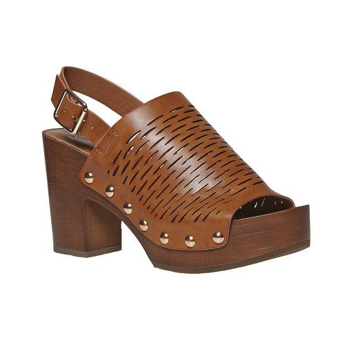 Sandali da donna con perforazioni bata, marrone, 761-3599 - 13