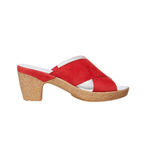 Slip-on in pelle da donna bata-touch-me, rosso, 663-5232 - 15