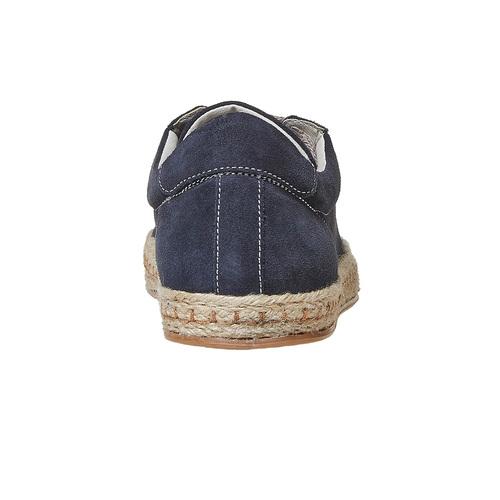 Sneakers in pelle con suola naturale bata, blu, 853-9317 - 17