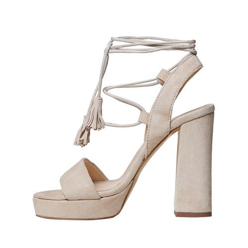 Sandali di pelle con tacco e lacci bata, beige, 763-8581 - 26
