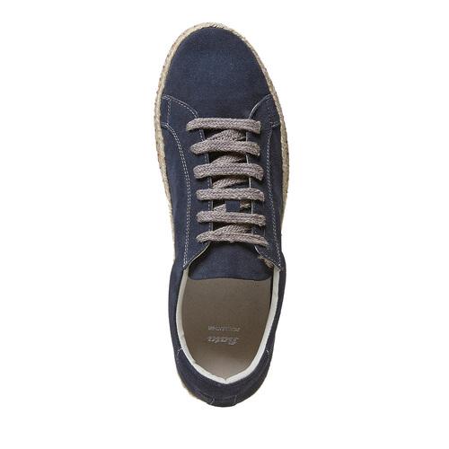 Sneakers in pelle con suola naturale bata, blu, 853-9317 - 19