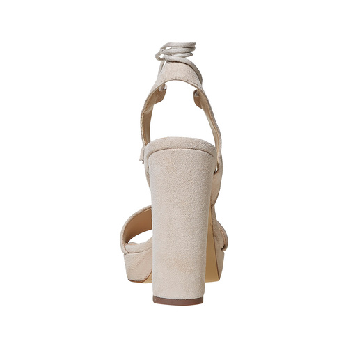 Sandali di pelle con tacco e lacci bata, beige, 763-8581 - 17