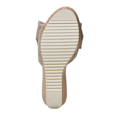 Slip-on da donna in pelle con plateau bata, beige, 763-8234 - 26