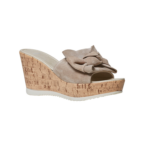 Slip-on da donna in pelle con plateau bata, beige, 763-8234 - 13