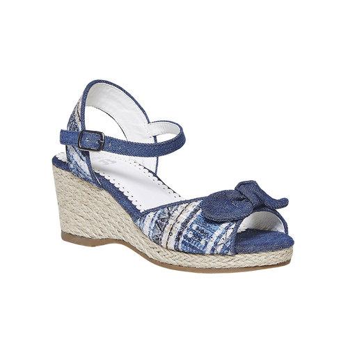Sandali da ragazza con plateau naturale mini-b, blu, 369-9220 - 13