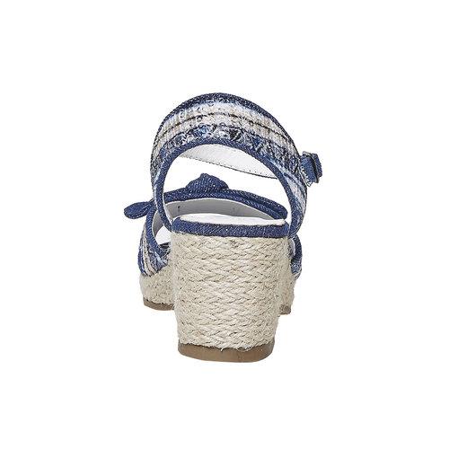 Sandali da ragazza con plateau naturale mini-b, blu, 369-9220 - 17