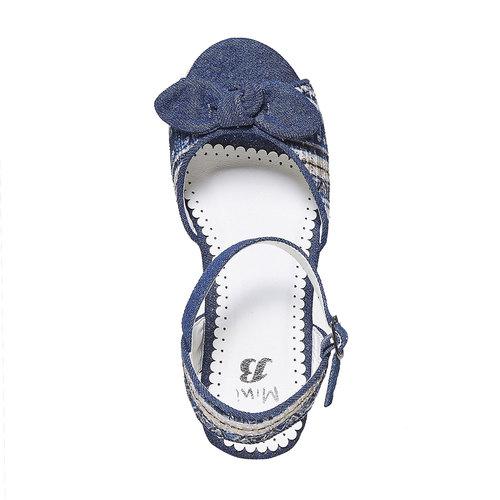 Sandali da ragazza con plateau naturale mini-b, blu, 369-9220 - 19