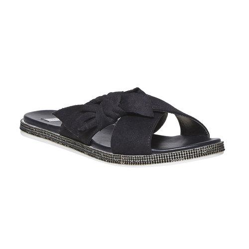 Slip-on da donna con strass sulla suola bata, nero, 569-6413 - 13