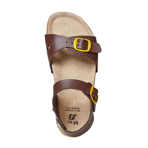 Sandali da bambino con dettagli gialli mini-b, marrone, 361-4233 - 19