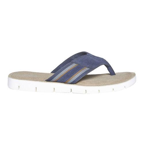 Infradito in pelle con suola bianca bata, blu, 863-9273 - 15