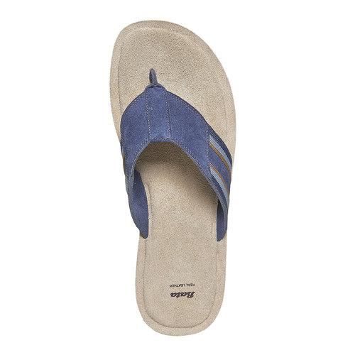 Infradito in pelle con suola bianca bata, blu, 863-9273 - 19