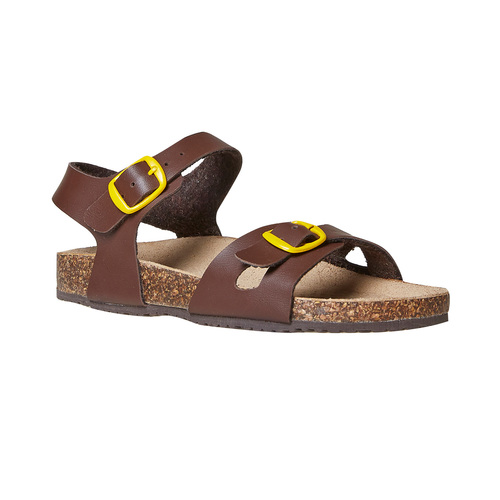 Sandali da bambino con dettagli gialli mini-b, marrone, 361-4233 - 13