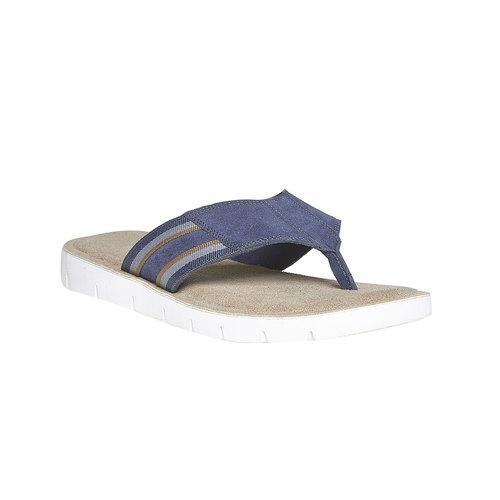 Infradito in pelle con suola bianca bata, blu, 863-9273 - 13