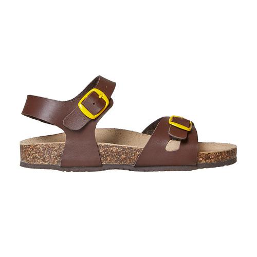 Sandali da bambino con dettagli gialli mini-b, marrone, 361-4233 - 15