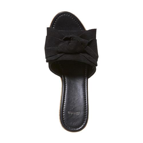 Slip-on in pelle con plateau in sughero bata, nero, 763-6234 - 19