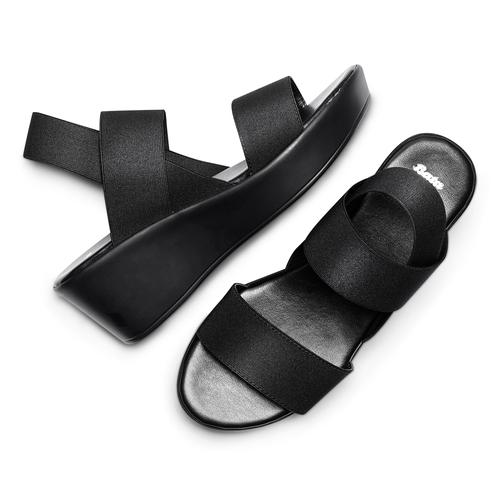 Sandali con fasce elastiche bata, nero, 779-6102 - 26
