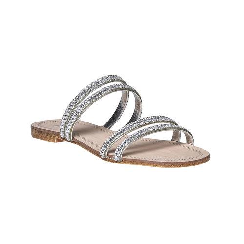 Slip-on da donna con strass bata, argento, 571-1353 - 13