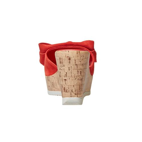 Slip-on da donna in pelle con plateau bata, rosso, 763-5234 - 16