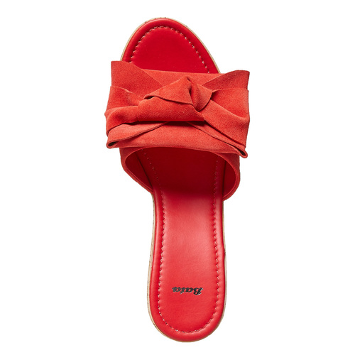 Slip-on da donna in pelle con plateau bata, rosso, 763-5234 - 15