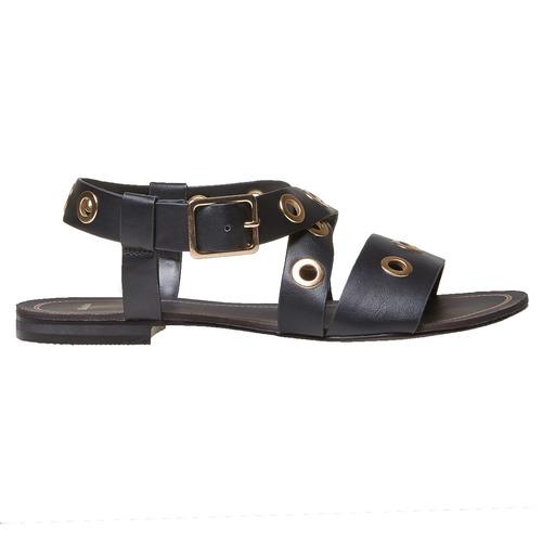 Sandali da donna con borchie di metallo bata, nero, 561-6500 - 26