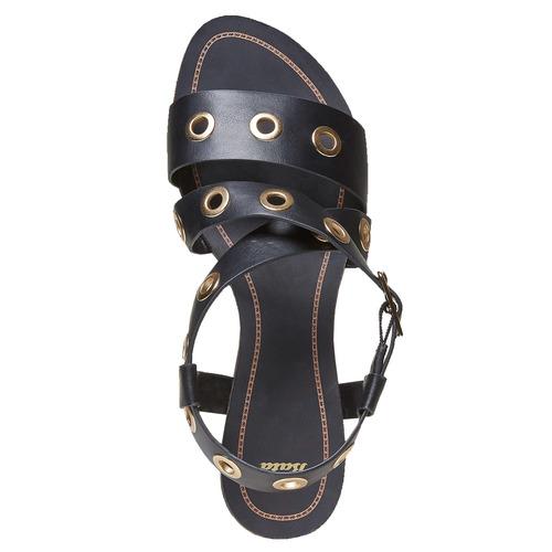 Sandali da donna con borchie di metallo bata, nero, 561-6500 - 15