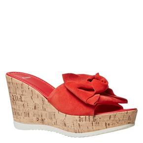 Slip-on da donna in pelle con plateau bata, rosso, 763-5234 - 13