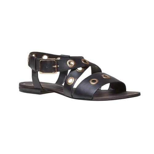 Sandali da donna con borchie di metallo bata, nero, 561-6500 - 13