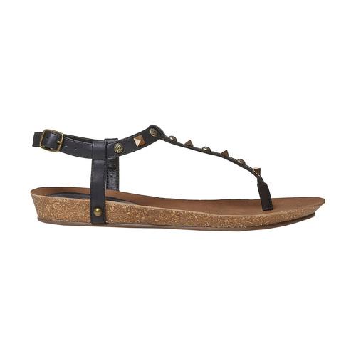 Sandali da donna con borchie di metallo bata, nero, 561-6292 - 15