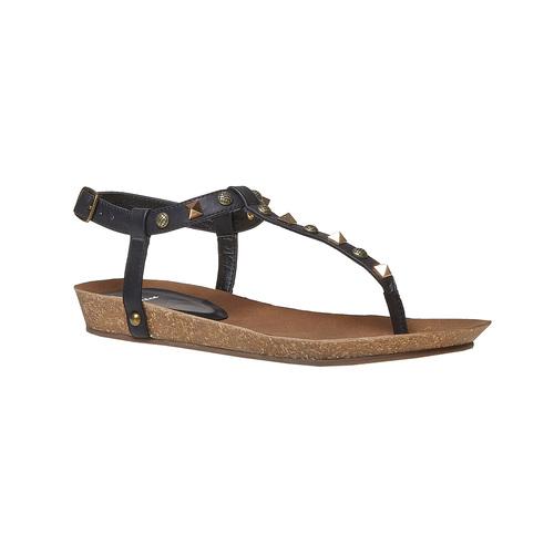 Sandali da donna con borchie di metallo bata, nero, 561-6292 - 13