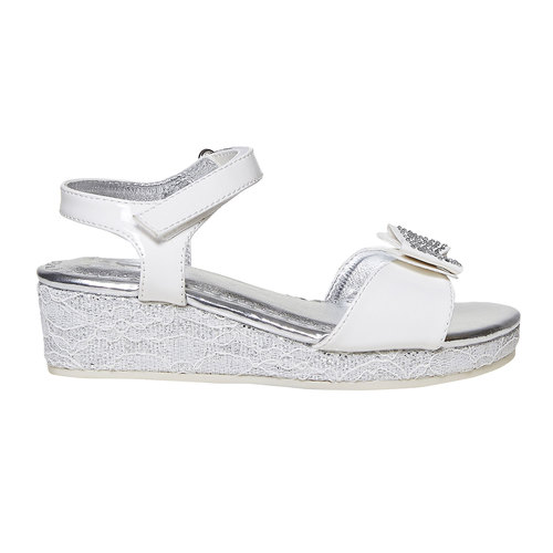 Sandali da ragazza con plateau basso mini-b, bianco, 361-1205 - 15