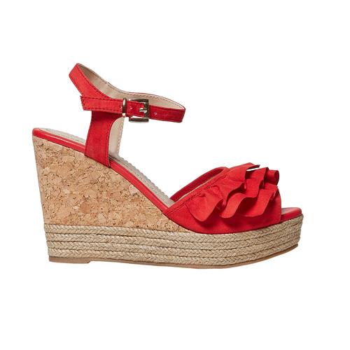 Sandali rossi da donna con balze bata, rosso, 769-5211 - 15