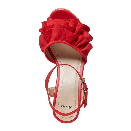 Sandali rossi da donna con balze bata, rosso, 769-5211 - 19