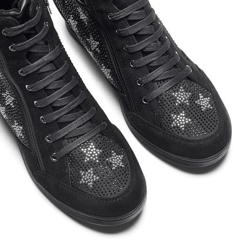 Sneakers con zeppa e strass north-star, nero, 729-6970 - 19