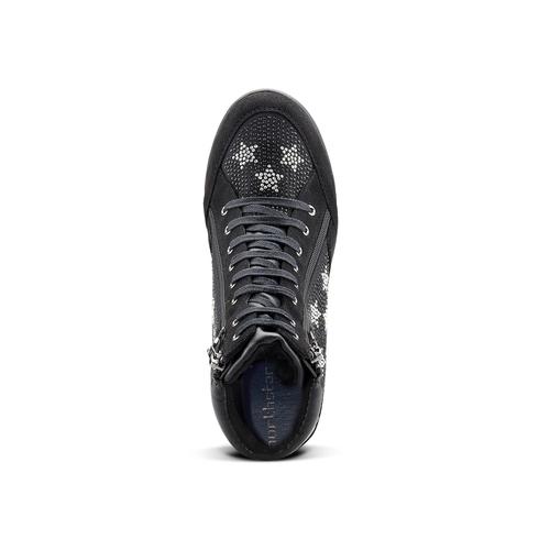 Sneakers con zeppa e strass north-star, nero, 729-6970 - 15