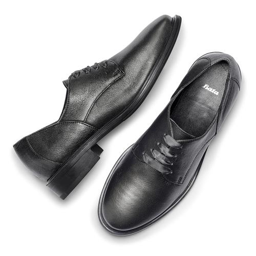 Stringate in pelle con lacci in raso bata, grigio, 524-2664 - 19