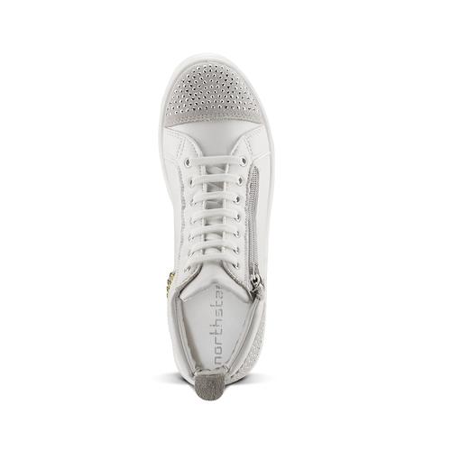 Sneakers alte con strass north-star, bianco, 541-1203 - 15