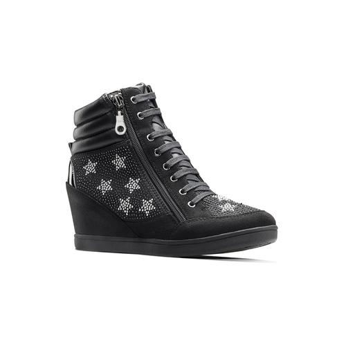 Sneakers con zeppa e strass north-star, nero, 729-6970 - 13
