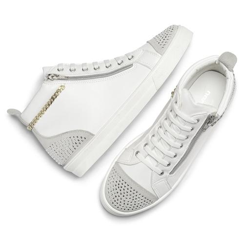 Sneakers alte con strass north-star, bianco, 541-1203 - 19