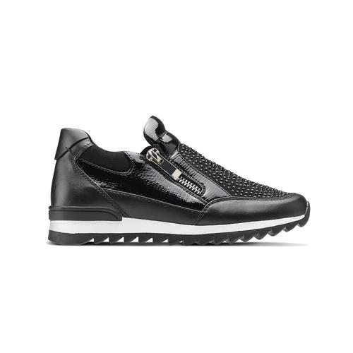 Sneakers slip-on con strass mini-b, nero, 329-6297 - 26