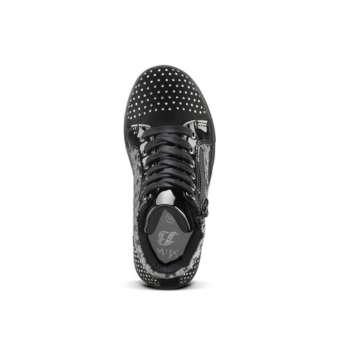 Sneakers alte con strass mini-b, nero, 229-6204 - 15