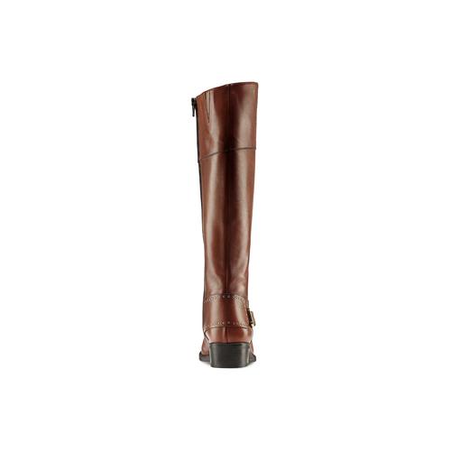 Stivali alti in pelle con borchie bata, marrone, 594-3427 - 26