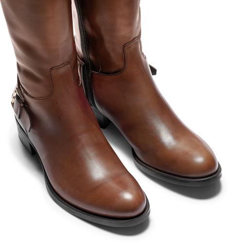 Stivali alti in pelle con borchie bata, marrone, 594-3427 - 15