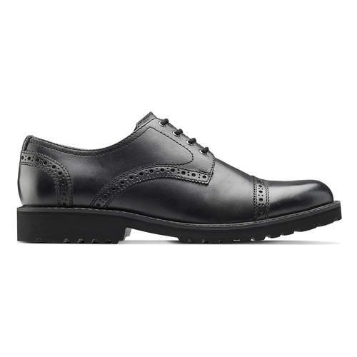 Scarpe derby in pelle bata-light, nero, 824-6977 - 26