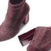 Tronchetti in velluto con tacco largo bata, rosso, 799-5648 - 19