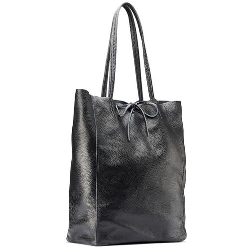 Shopper in Vera Pelle bata, nero, 964-6122 - 13