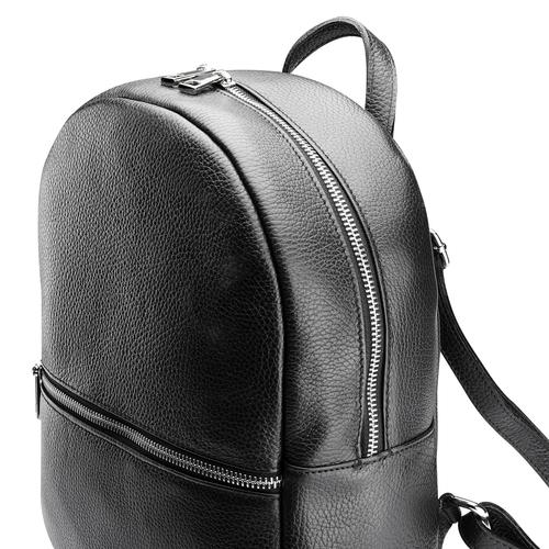 Zaino Unisex in Vera Pelle con zip bata, nero, 964-6240 - 15