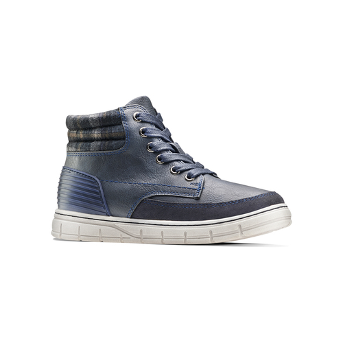 Sneakers alte da bambino con zip mini-b, blu, 391-9397 - 13